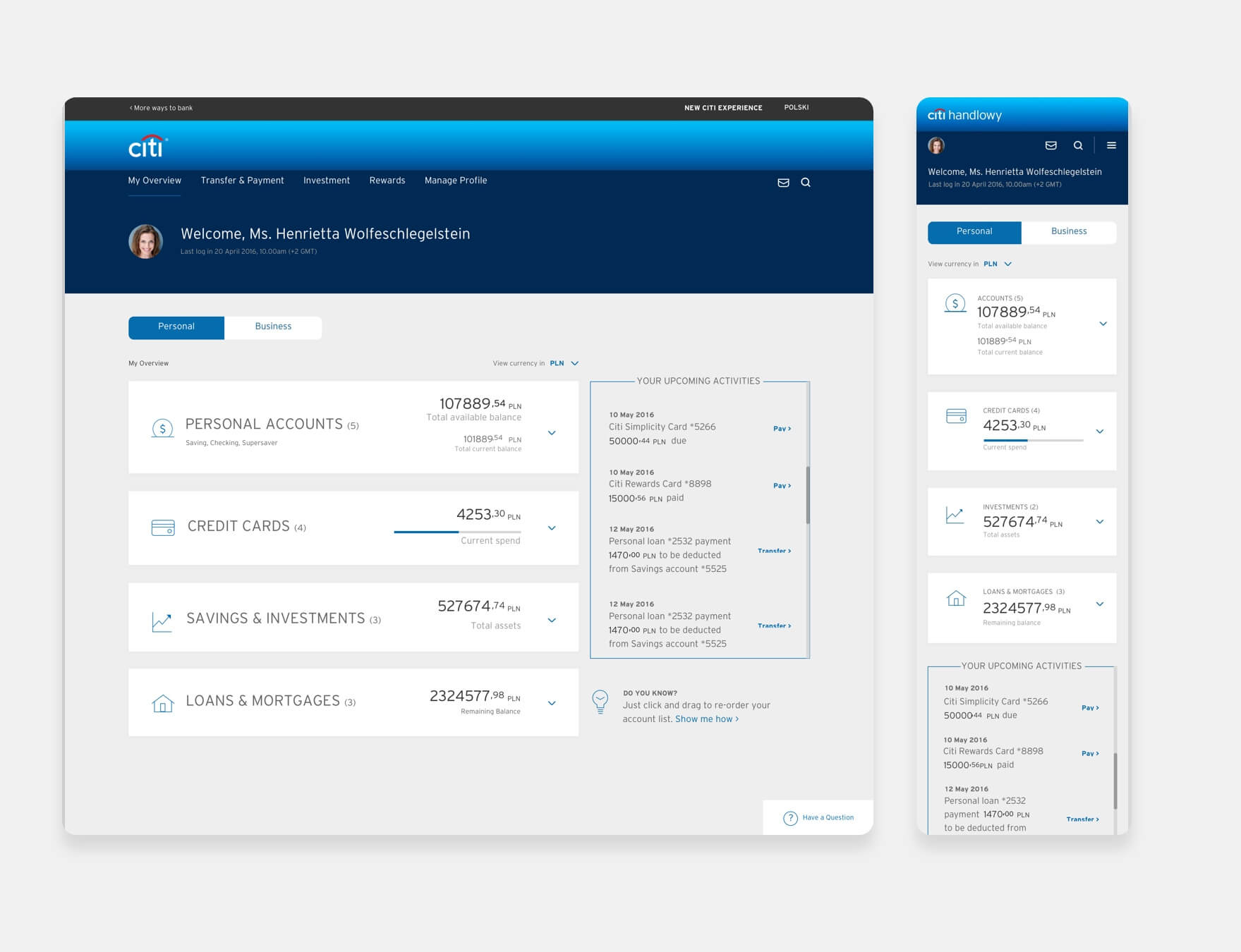 Citibank Dashboard