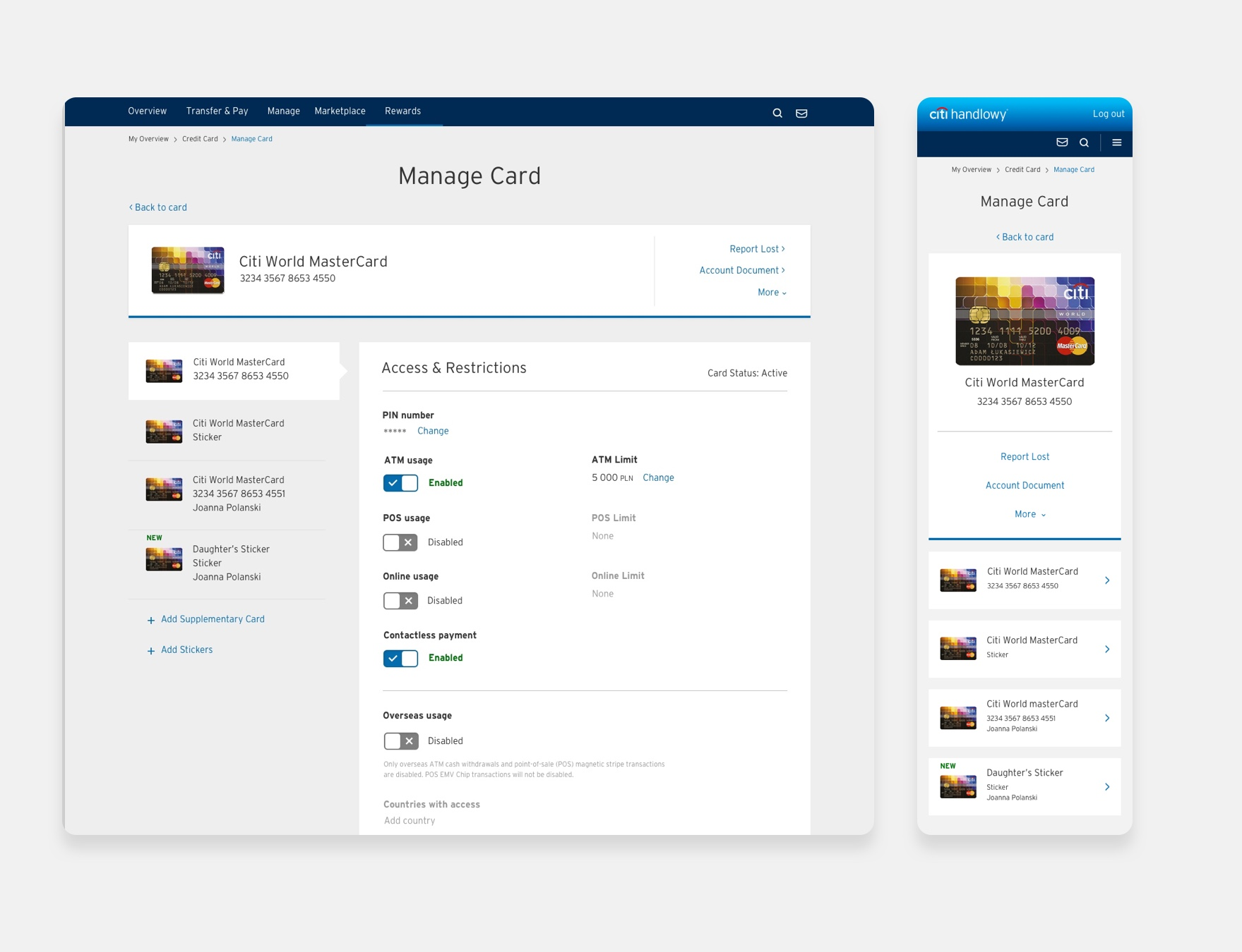 Citibank Manage Card
